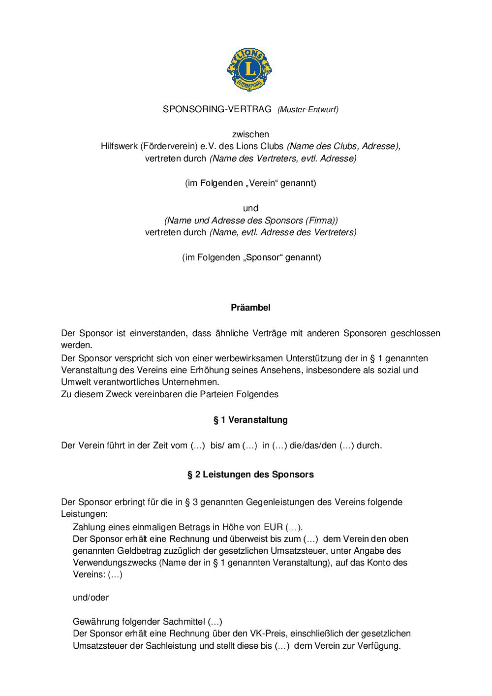 ldt - Sponsoringvertrag Muster
