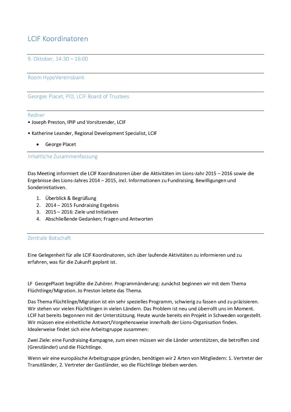 Europaforum 2015 - Minutes