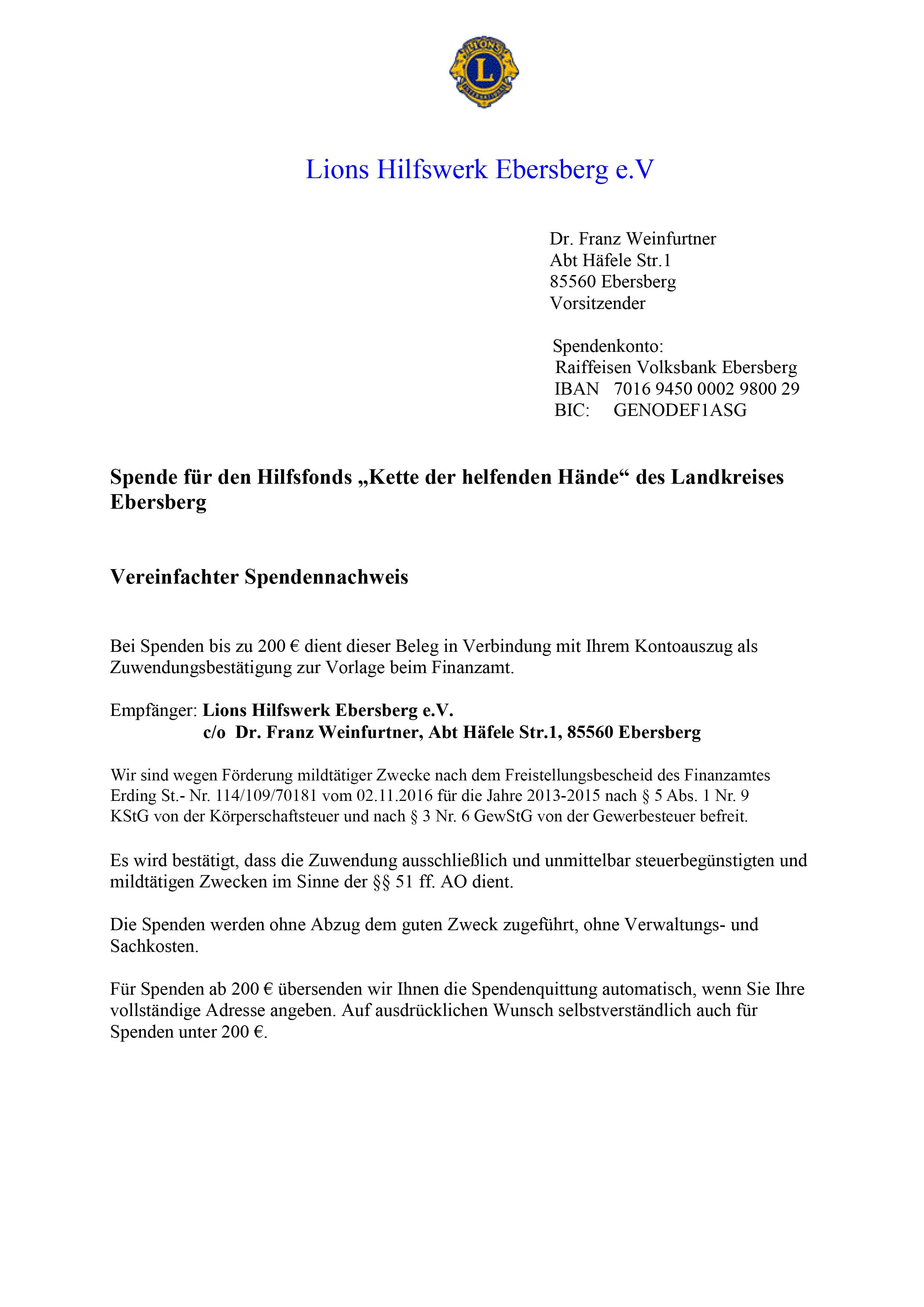 Lions Club Ebersberg - Spendenbescheinigung