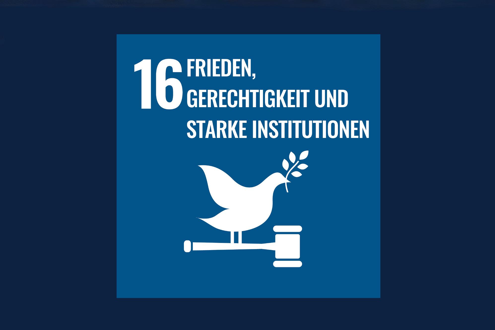 Icon für das Ziel 16 – Frieden, Gerechtigkeit und starke Institutionen